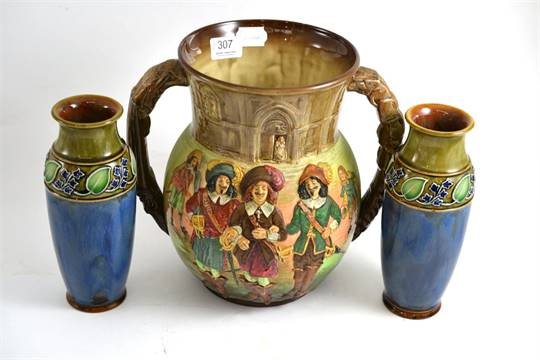 Royal Doulton The Three Musketeers Two Handled Vase Cracked And