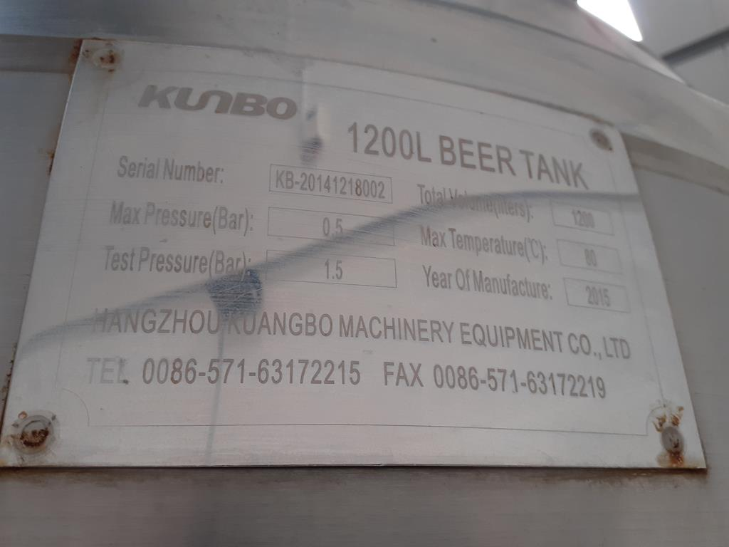 Kumbo 1200l Stainless Steel Beer Tank/conical FV - Image 5 of 7