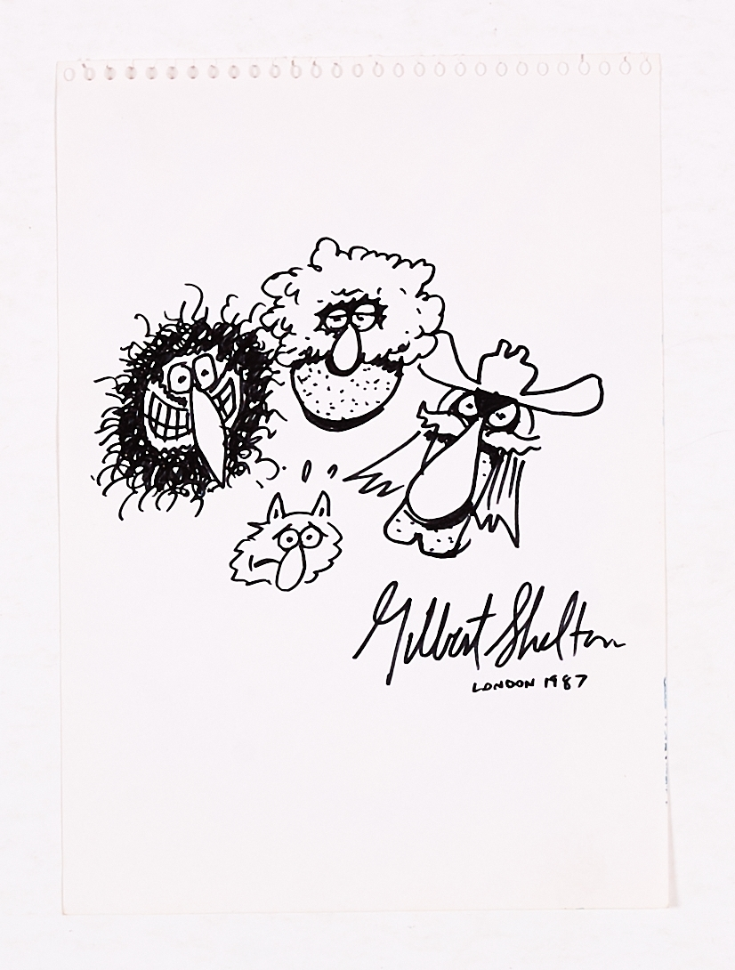 Gilbert Shelton 1987 signed sketch of the Fabulous Furry Freak Brothers and Fat Freddy's Cat.