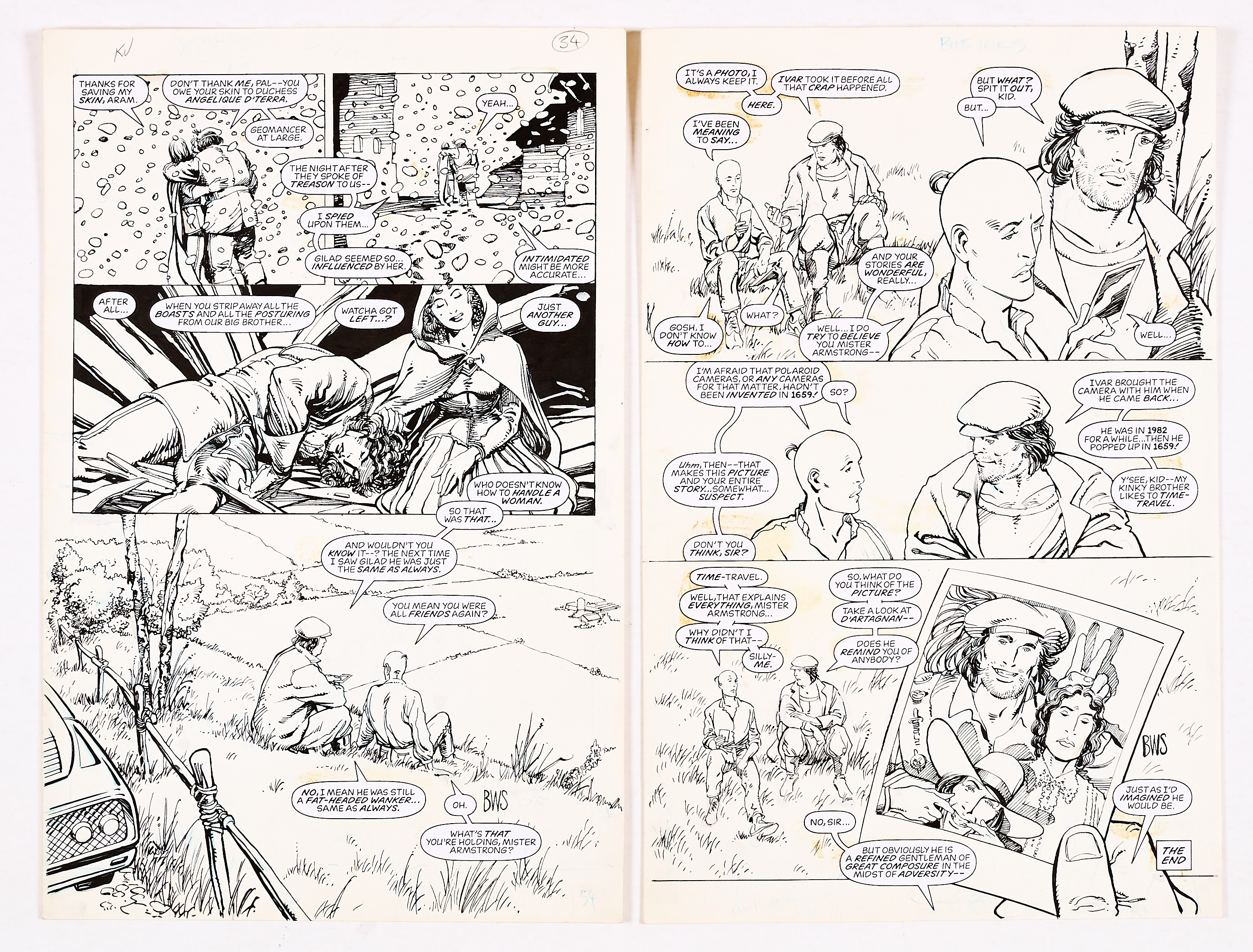 Archer and Armstrong #8, pgs 24 & 25 original artwork (1992) drawn and initialled by Barry Windsor-