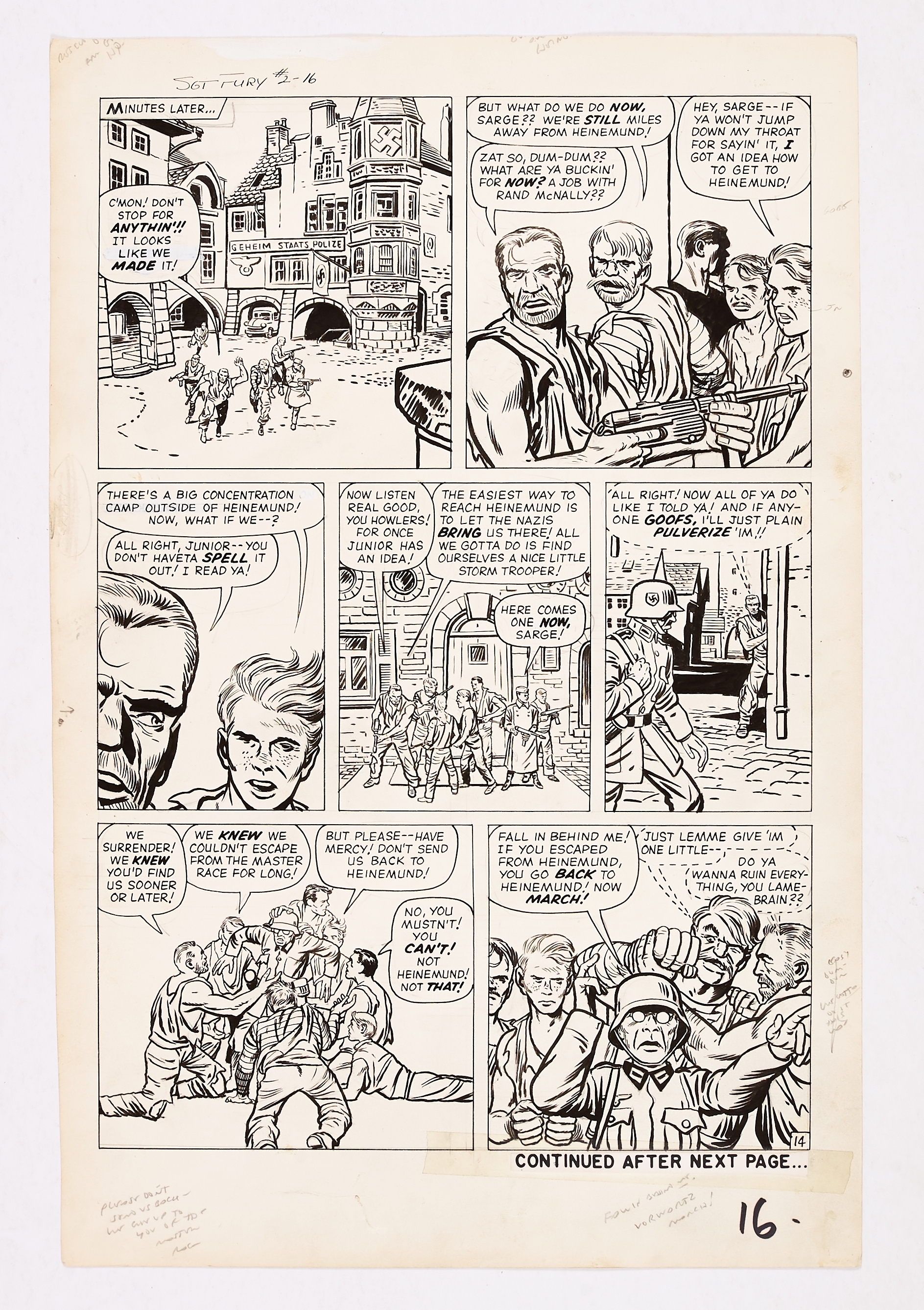 Sgt Fury #2 pg 16 (1963) original artwork by Jack Kirby. Indian ink on cartridge paper. 21 x 14 ins