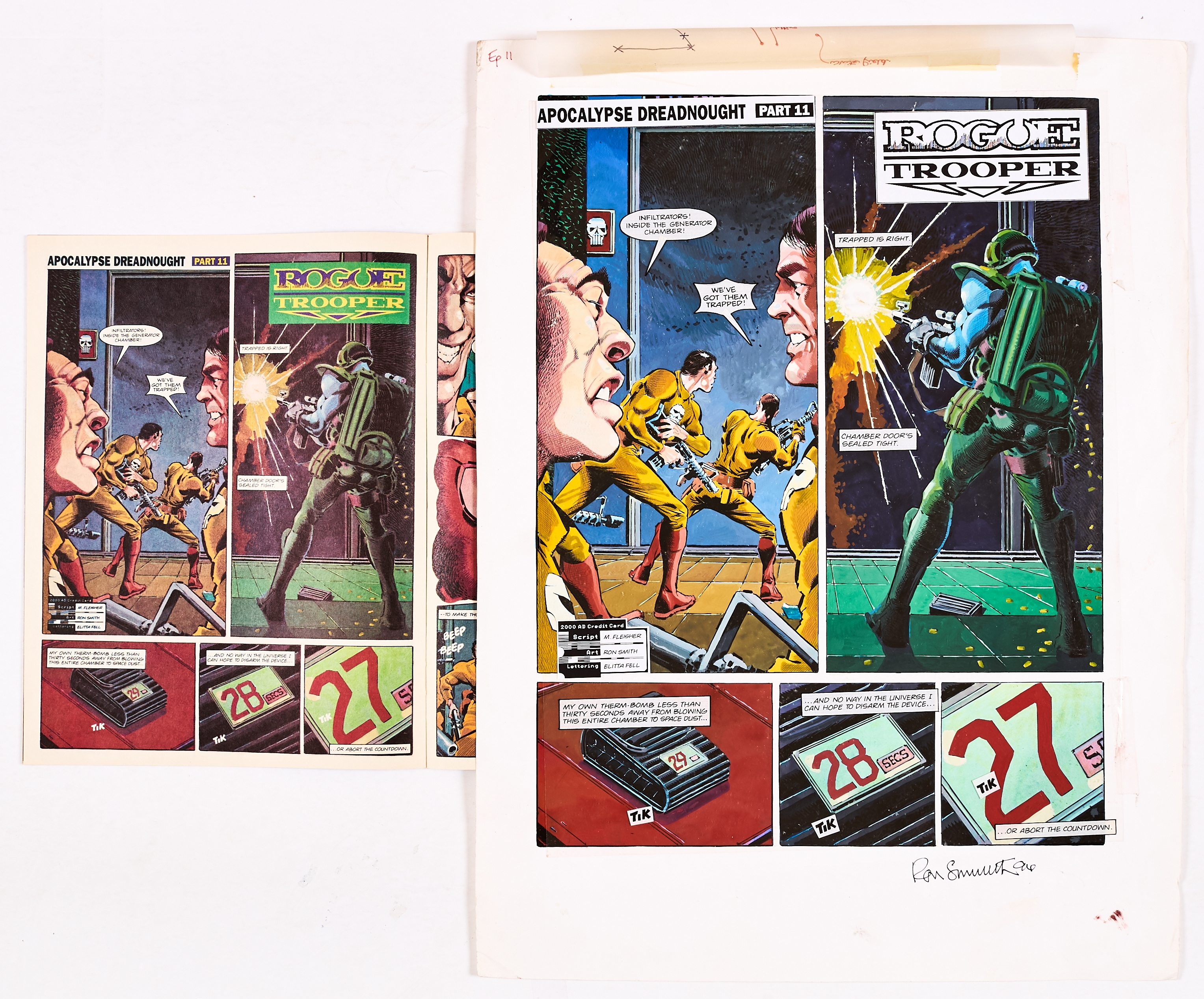 Rogue Trooper original artwork drawn, painted and signed by Ron Smith from 2000AD prog 790, pg 20, 4