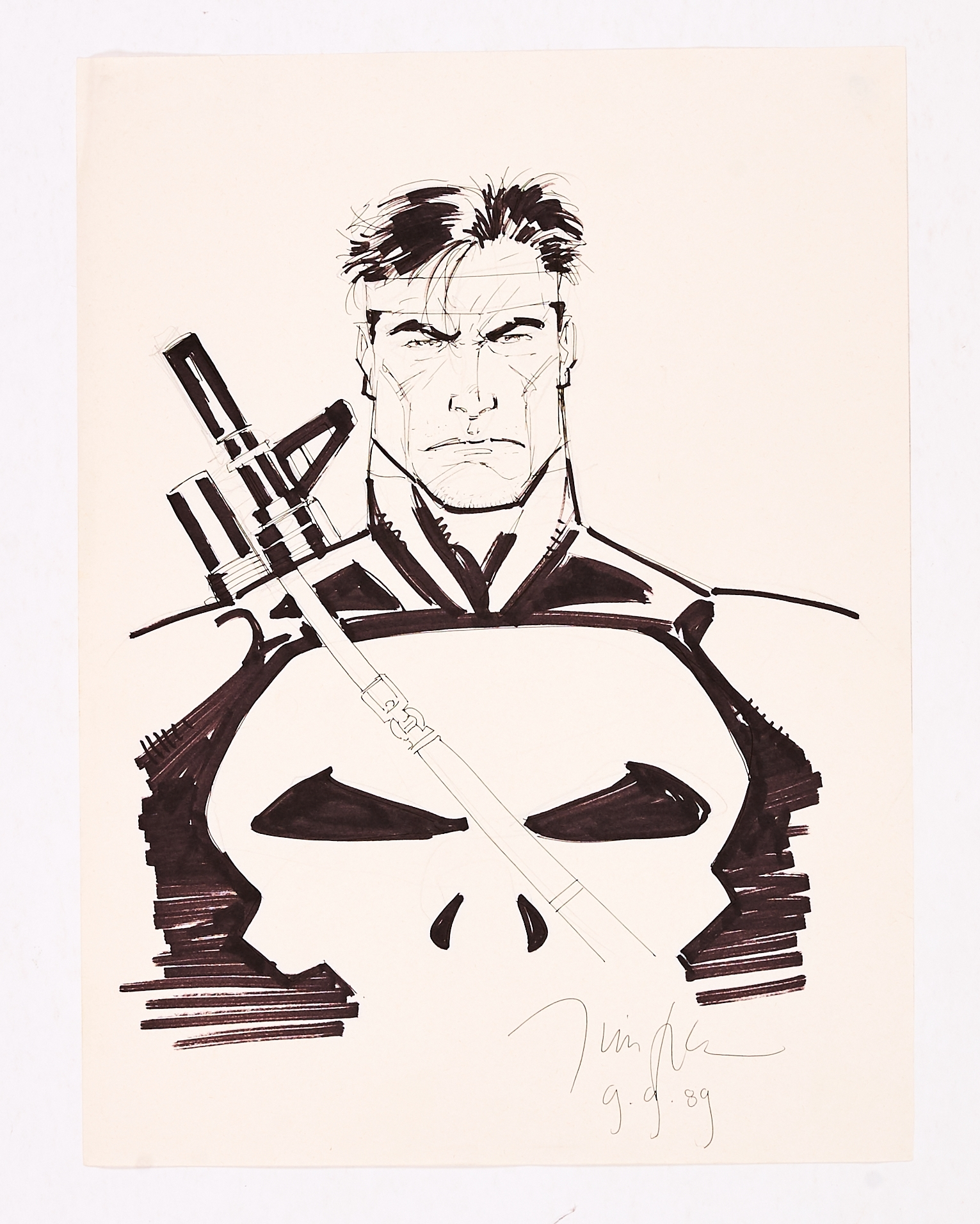 The Punisher Sketch drawn and signed by Jim Lee (9.9.'89). Ink and marker pen on paper. 15 x 11 ins