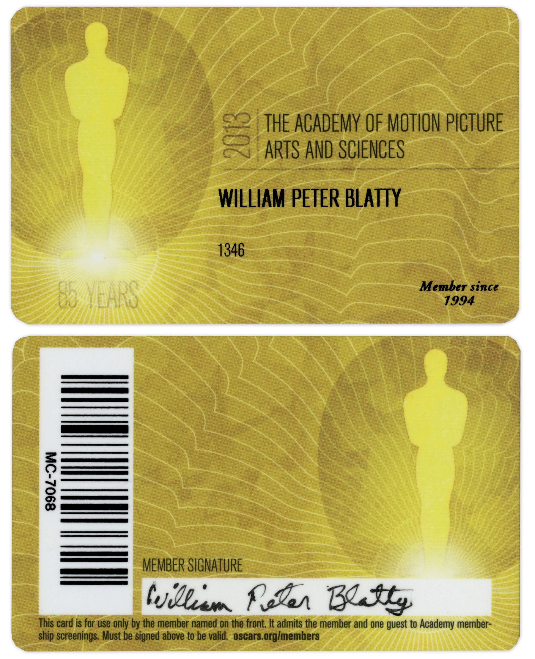 Lot 42 - William Peter Blatty's official AMPAS membership card, signed in pen. Plastic card reads ''2013 /