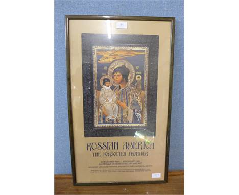 An art exhibition poster, Russian America, The Forgotten Frontier, 18/11/90-10/2/91, framed