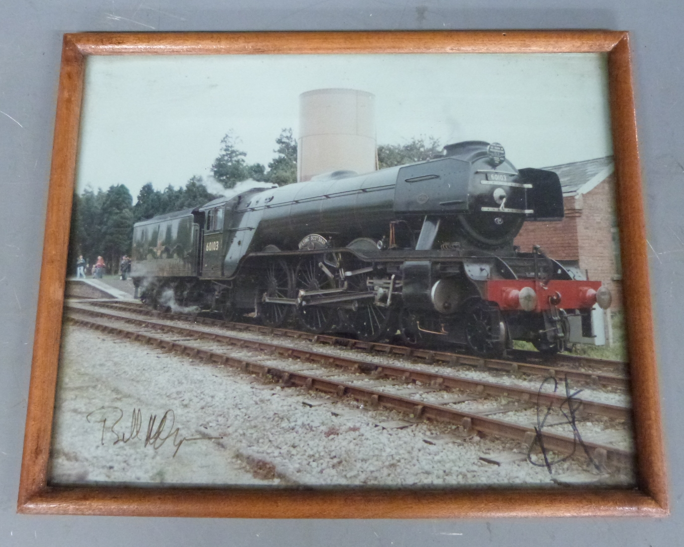 Lot 20 - Framed colour photograph of The Flying Scotsman signed by Pete Waterman and Bill McAlpine, 20 x 26m