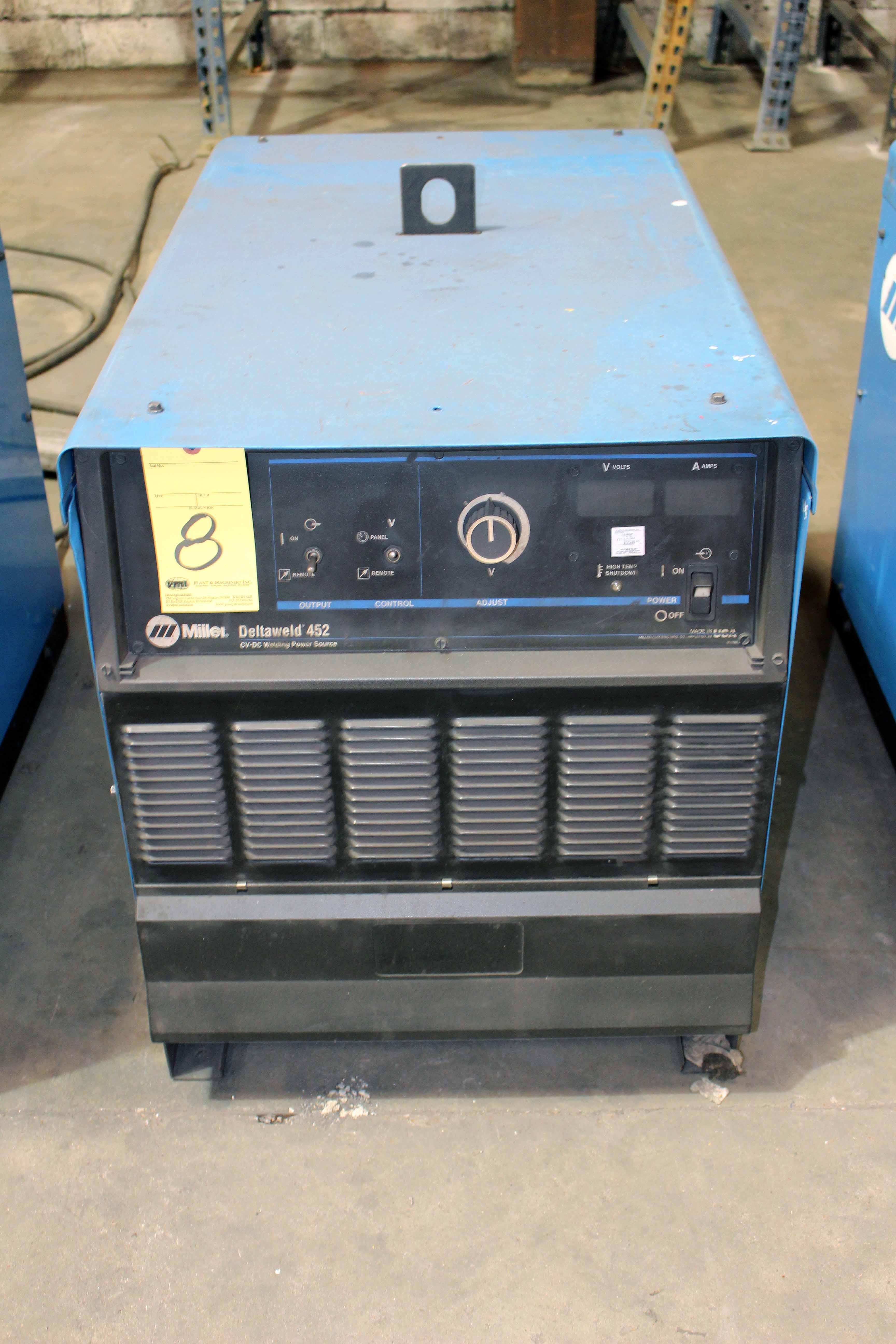 Lot 8 - MIG WELDER, MILLER DELTAWELD MDL. 452, 450 amps @ 38 v., 100% duty cycle, S/N LH330068C