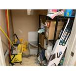 Contents Of Storage Closet w/ Black Metal Wire Rack, Mop Buckets & Misc Supplies
