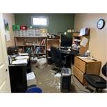 Contents Of Office: Laminate Corner Desk, Black Lamiante Desk, Fellowes Shredder, HP Pavillion