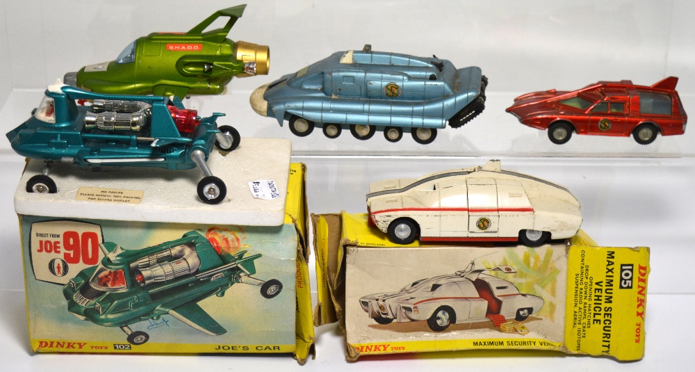 "Lot 678 - A boxed ""Joe 90"" car by Dinky model no.102, Dinky model no.351 ""UFO Interceptor"" and three Dinky """