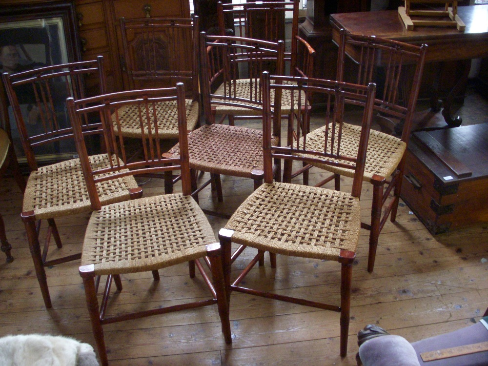 Lot 216   Set Of Seven Victorian Occasional Chairs In Manner Of William  Morris. Imitation