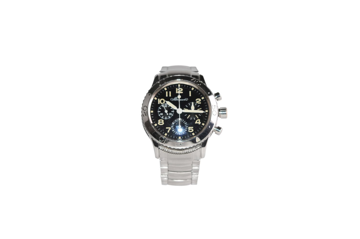 BREGUET Type XX AeronavaleSteel watch with steel strap automatic chrono 39 mm without box without