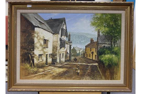 Large Oil Painting On Canvas Girl Standing On Old West Looe Hill By Terry  Bailey In Gilt Frame ,