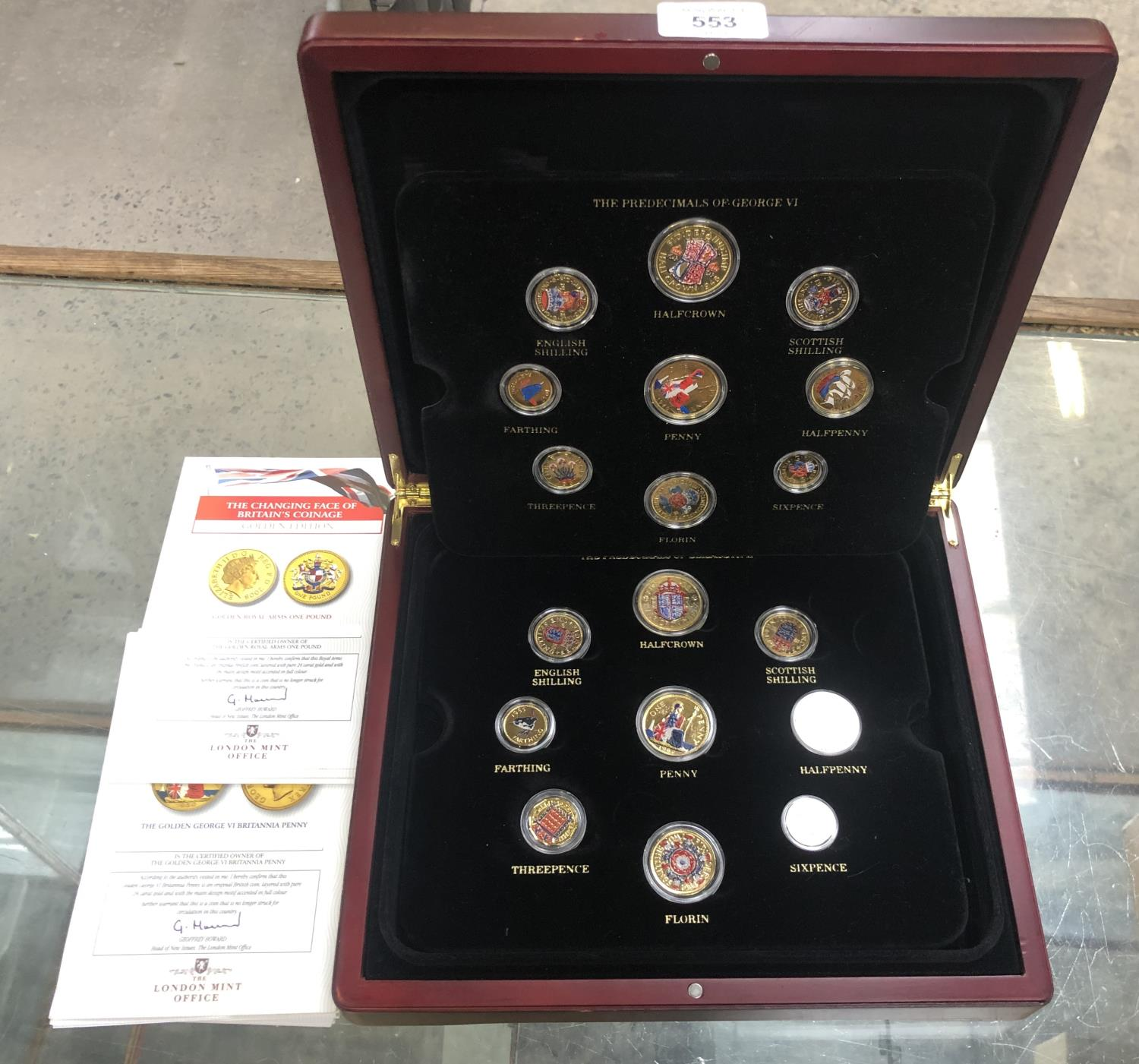 Lot 553 - THE GOLDEN EDITION CASED 'THE CHANGING FACE OF BRITAIN' COIN SET WITH C.O.A