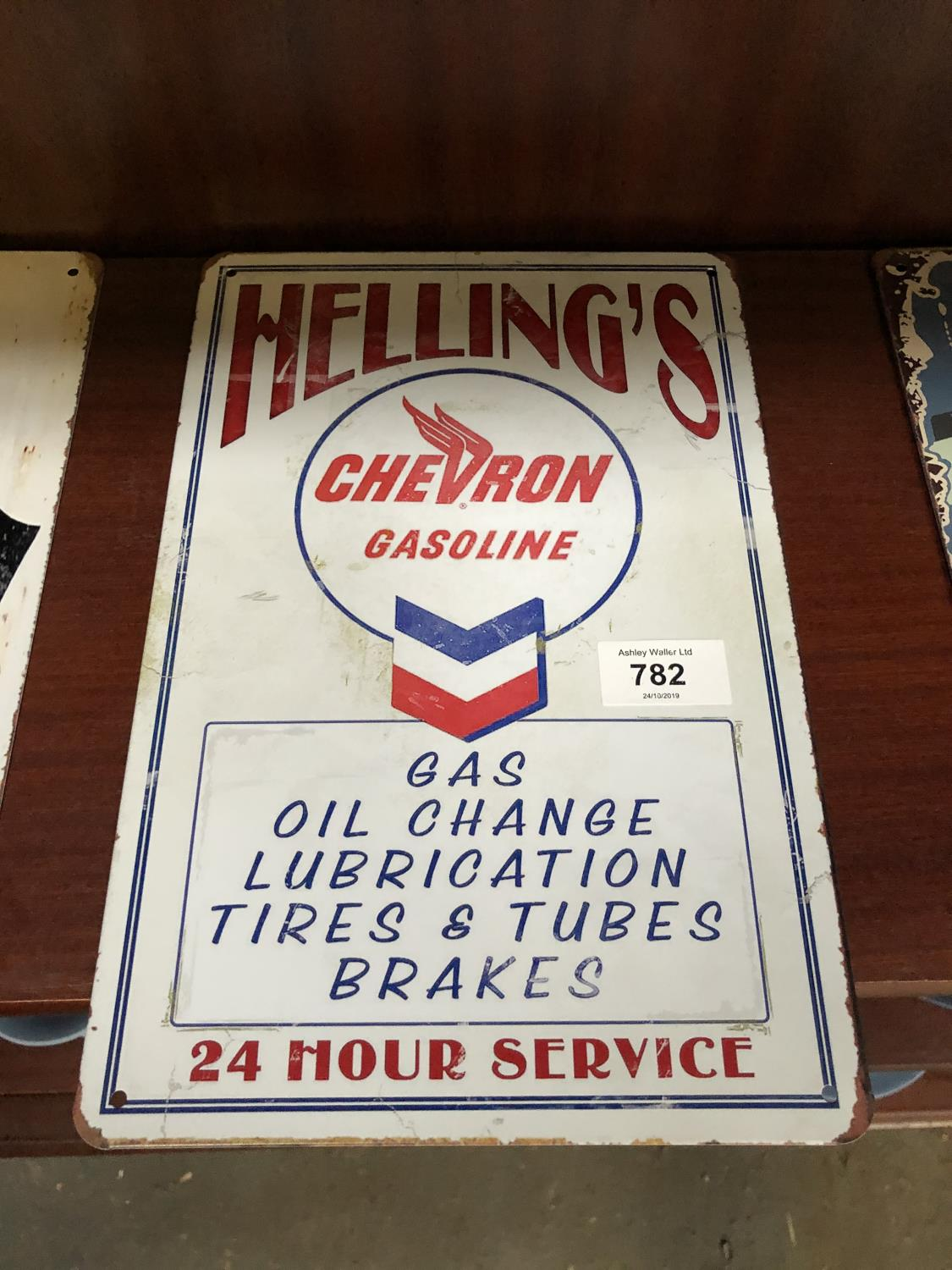 Lot 782 - A VINTAGE STYLE 'HELLINGS' METAL SIGN