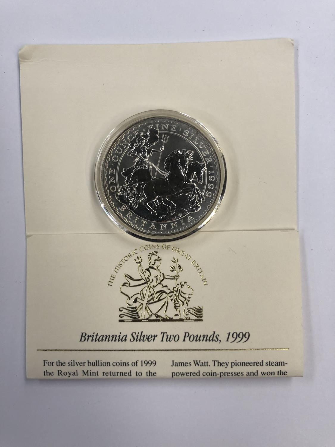 Lot 515 - UK 1999 ?BRITANNIA? £2, ONE OUNCE, FINE SILVER COIN, ENCAPSULATED