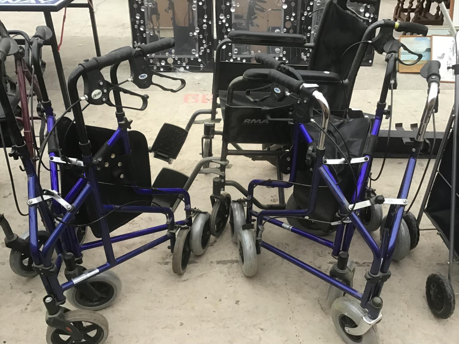 FIVE MOBILITY ITEMS TO INCLUDE A RMA WHEELCHAIR AND FOUR THREE WHEELED WALKER WITH BRAKES (TWO