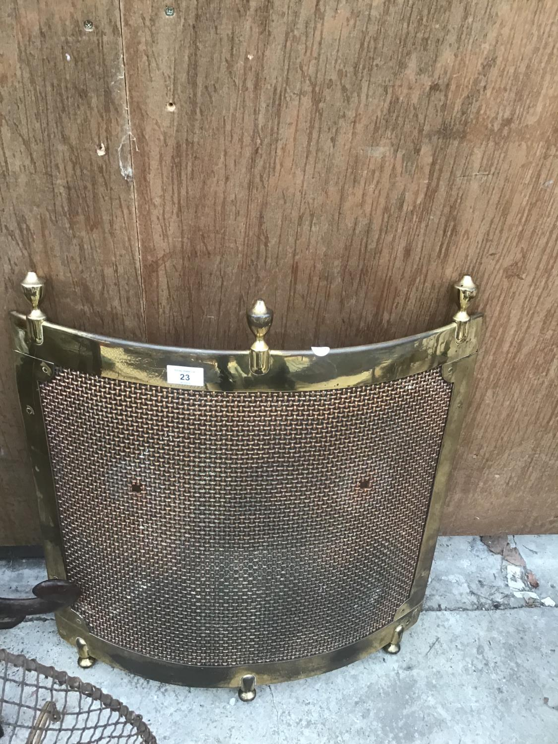 THREE VINTAGE FIRE GUARDS ONE ORNATE BLACK, ONE BRASS AND ONE MESH - Image 2 of 4