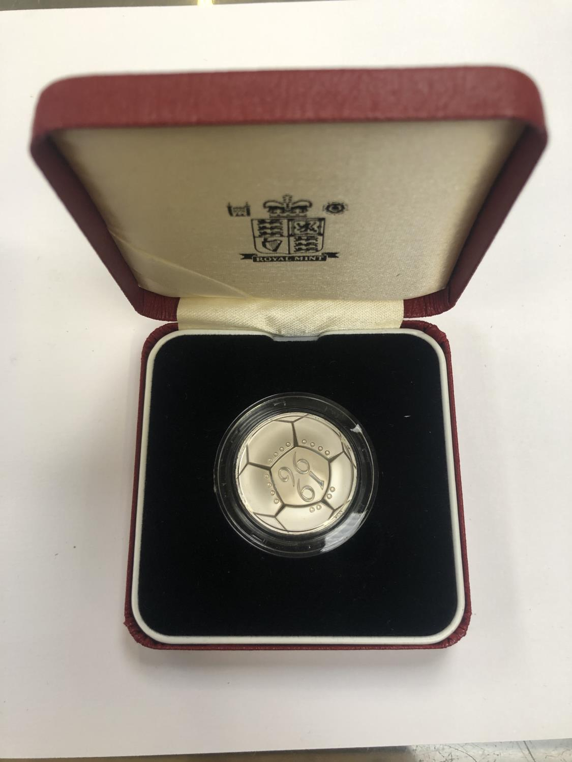 """Lot 532 - 1996 UK ROYAL MINT """"EUROPEAN FOOTBALL TWO POUNDS SILVER COIN"""", ENCAPSULATED AND BOXED"""