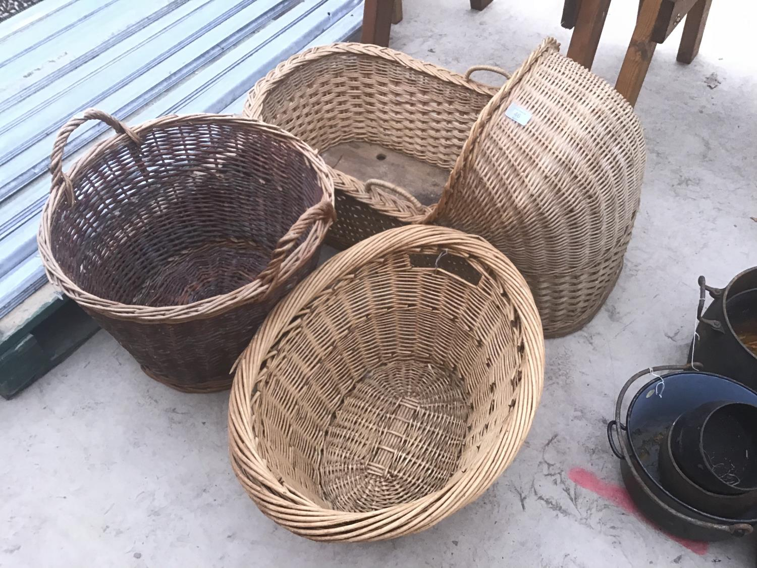THREE WICKER ITEMS TO INCLUDE A MOSES BASKET AND TWO LOG BASKETS