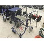 THREE MOBILITY ITEMS TO INCLUDE A WALKER SEAT WITH BRAKES A WALKING FRAME AND A SHOPPING TROLLEY