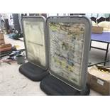 TWO LARGE NOTICE BOARDS WITH WATER FILLED BASES ON WHEELS