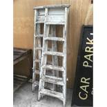 TWO PAIRS OF VINTAGE SIX STEP WOODEN STEP LADDERS