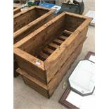 TWO LARGE WOODEN RECTANGULAR PLANTERS