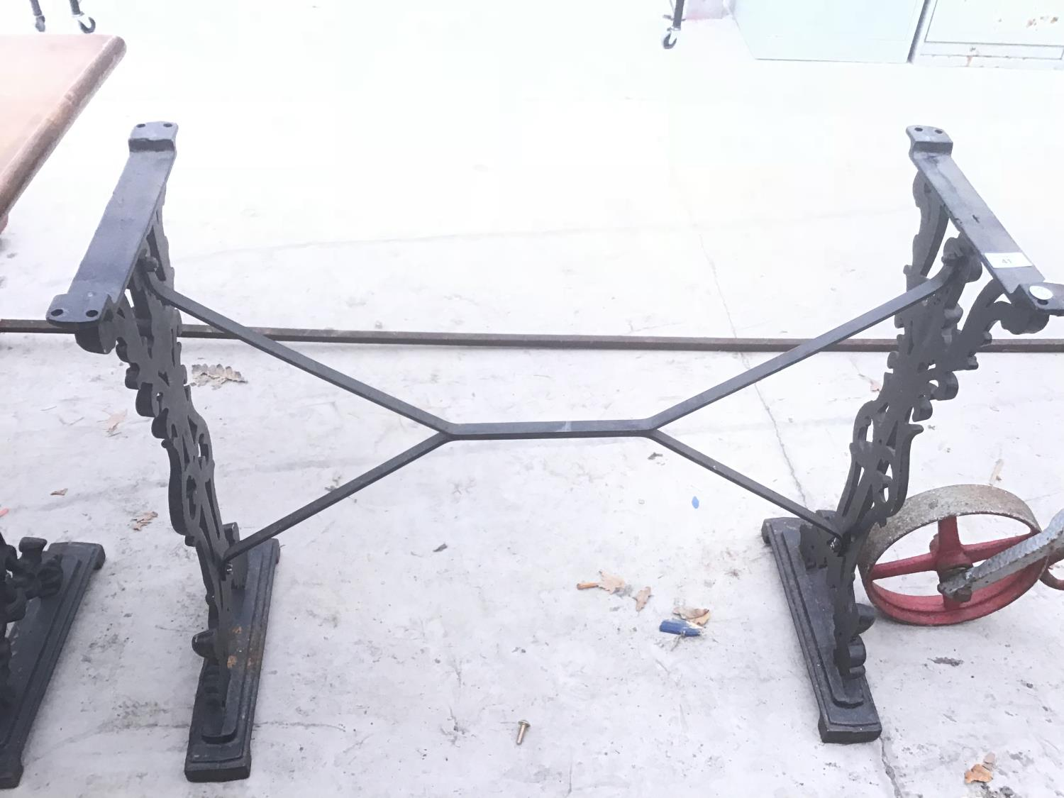 A CAST IRON RECTANGULAR TABLE SUPPORT