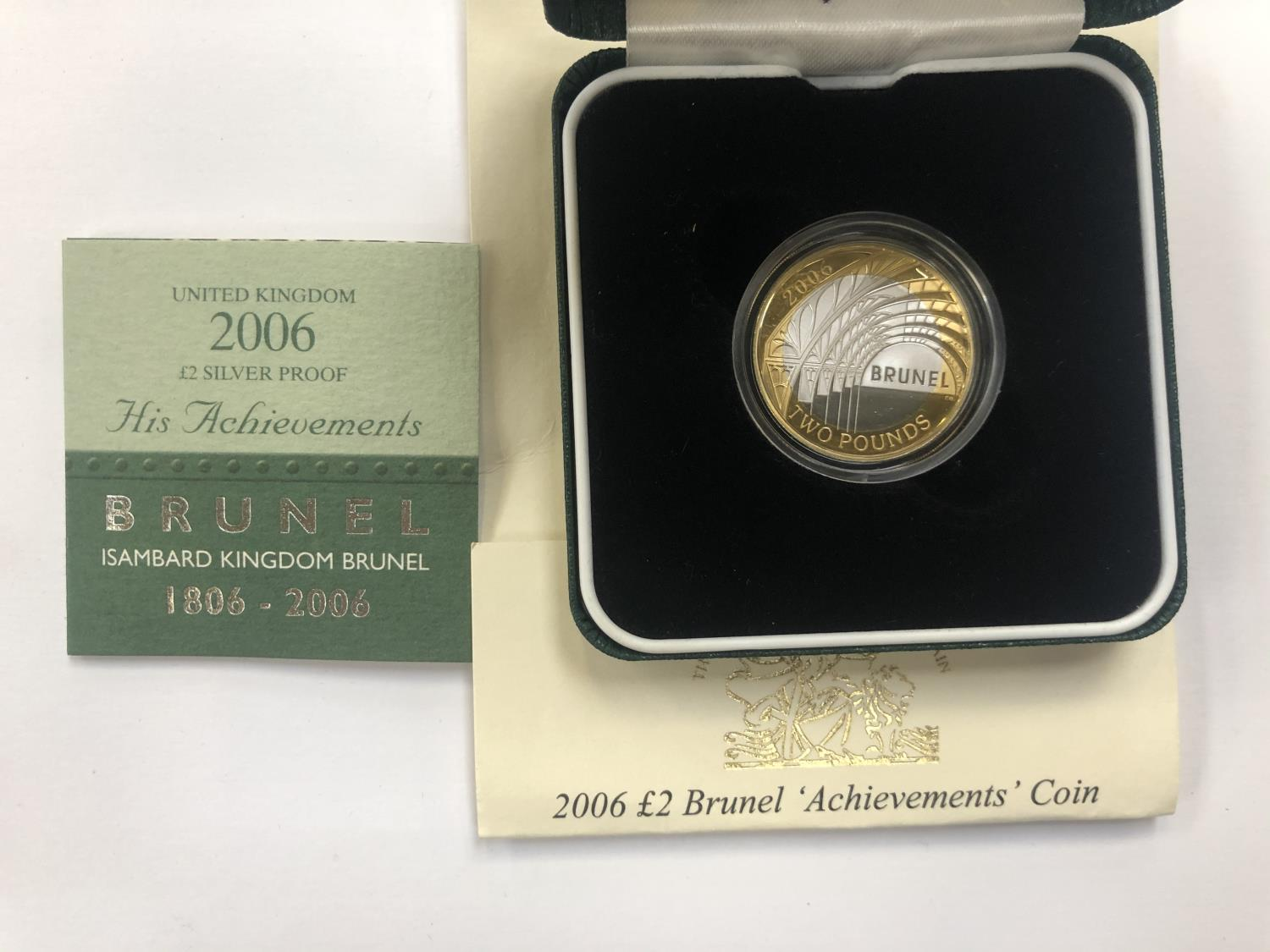 """Lot 535 - UK ROYAL MINT """"2006 £2 SILVER PROOF, BRUNEL, HIS ACHIEVEMENTS"""", ENCAPSULATED AND BOXED WITH C.O.A"""