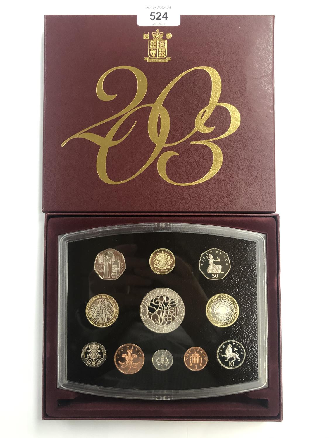 Lot 524 - 2003 ROYAL MINT UK PROOF 11 ? COIN YEAR SET , INCLUDING SUFFRAGETTE 50P AND DNA £2 . THE SET IS