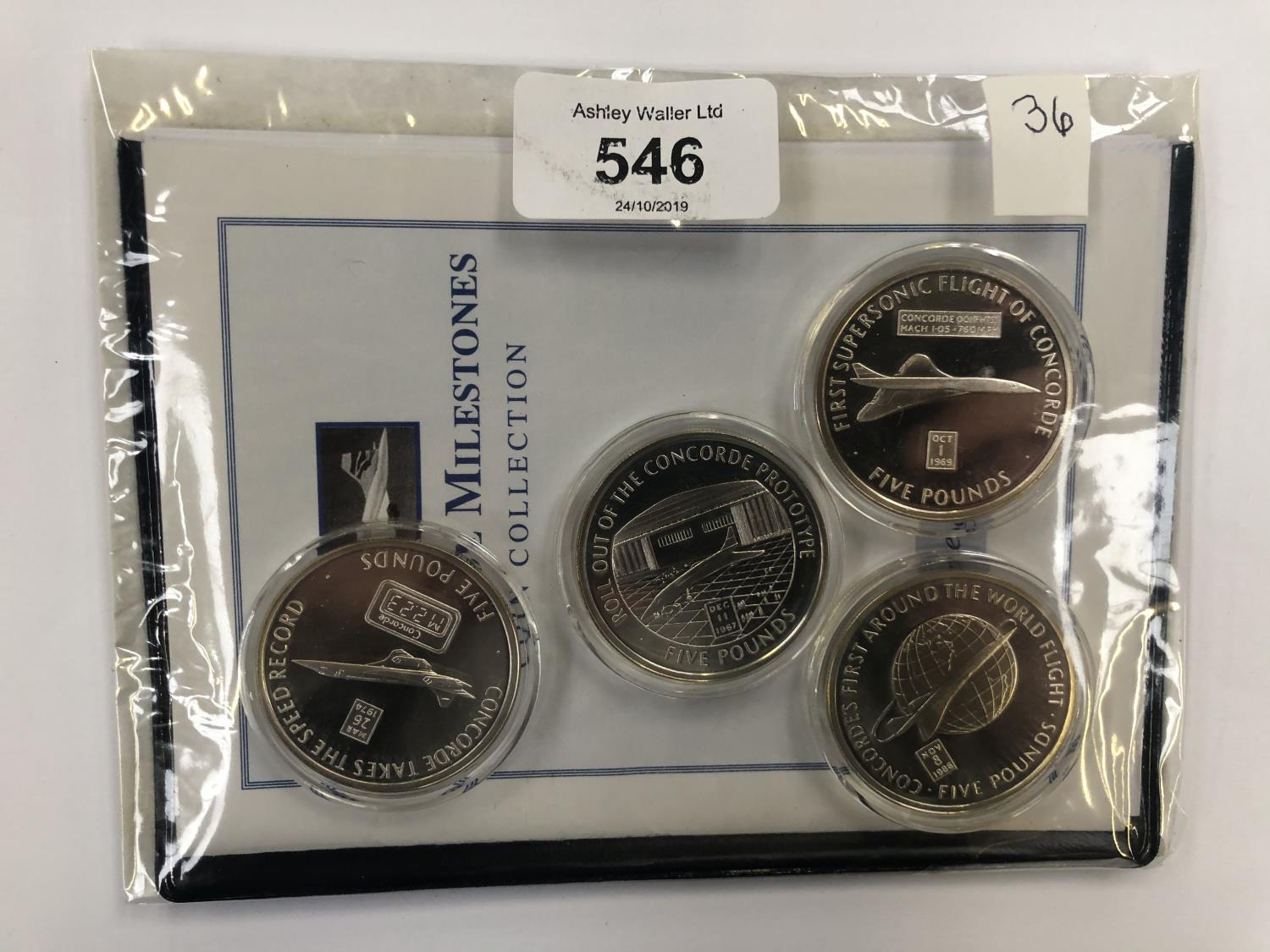 Lot 546 - ?CONCORDE MILESTONES? COIN COLLECTION , COMPRISING FOUR SILVER PROOF COINS . EACH COIN IS £5 IN