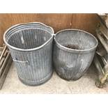 A VINTAGE DOLLY TUB AND FURTHER BIN (2)