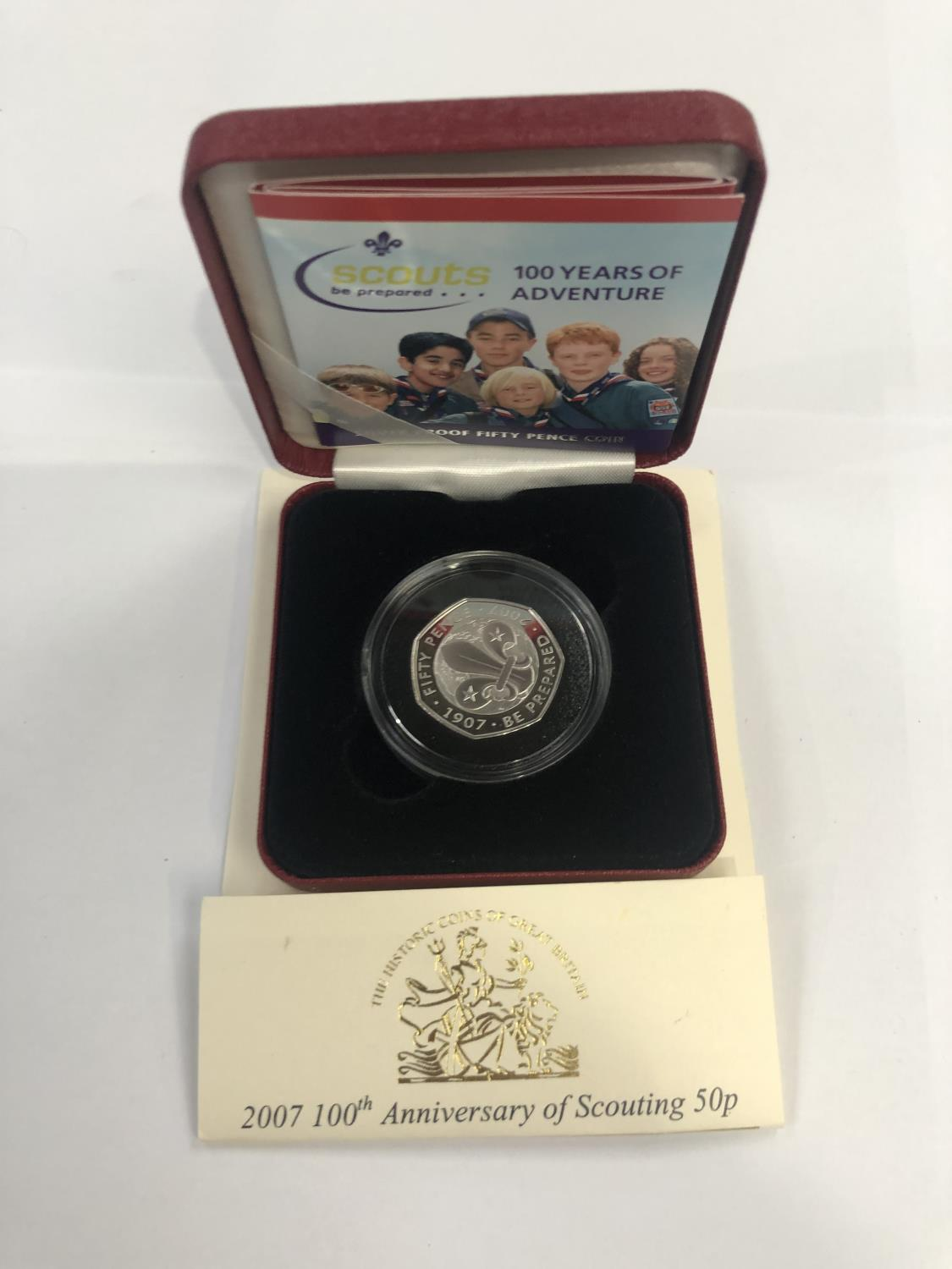 """Lot 527 - 2007 """"SCOUTS 100 YEARS OF ADVENTURE"""" SILVER PROOF FIFTY PENCE COIN. ENCAPSULATED WITH C.O.A,"""