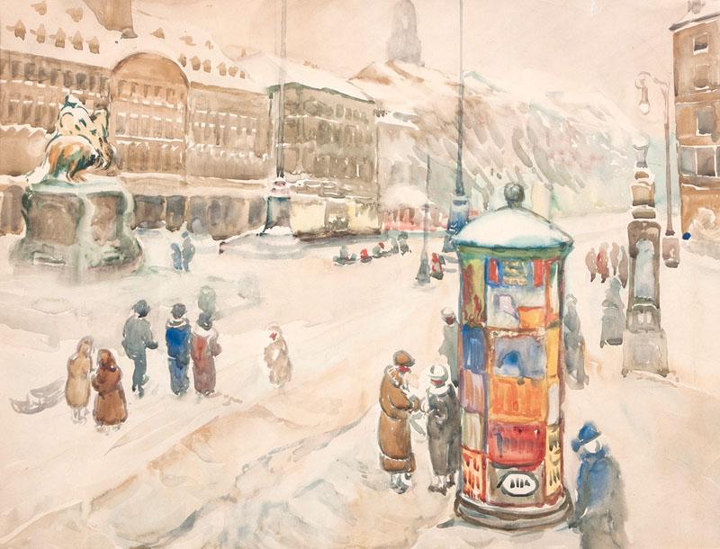 Lot 86 - Andrae, Elisabeth (Dresden 1876 - Leipzig 1945), attr. Neustadt Market Place in Dresden Watercolour,