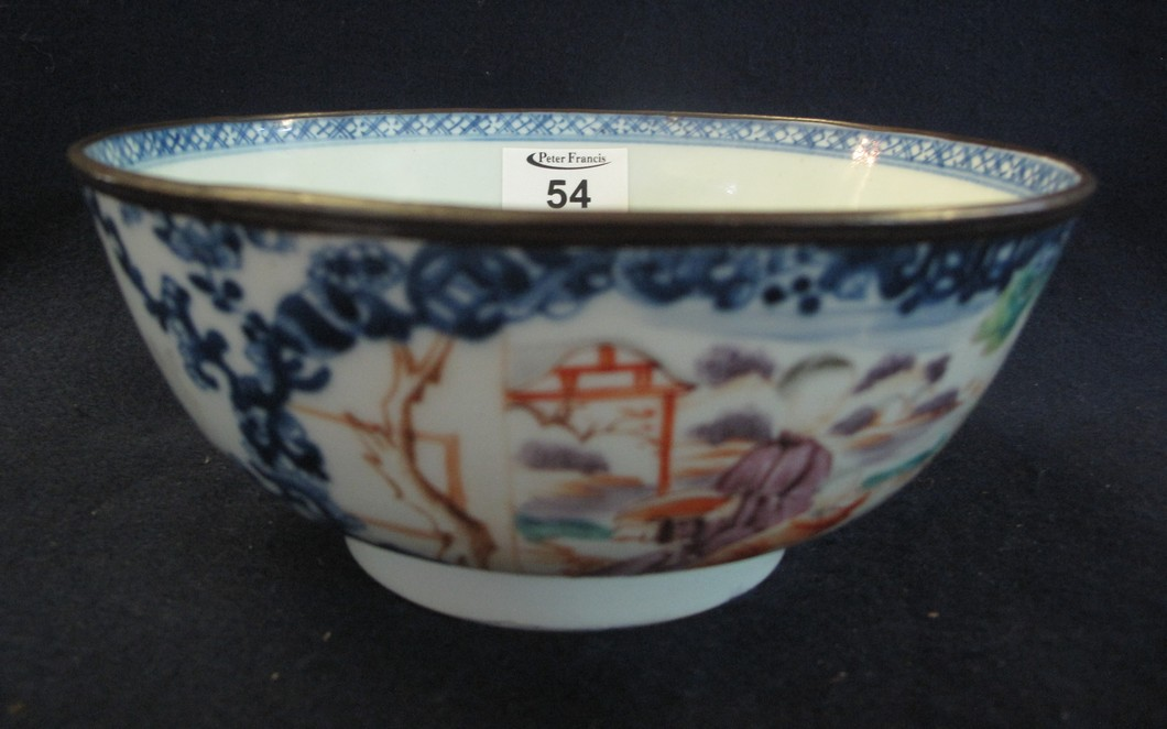 18th Century Chinese porcelain famille rose bowl with a copper clad rim,