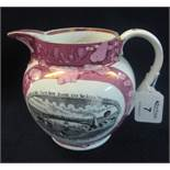 19th Century Sunderland lustre pottery single handled jug with transfer printed decoration,