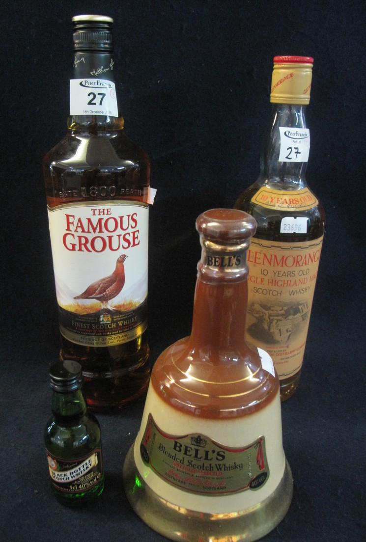 Collection of whiskies to include; The Famous Grouse, 10 years old Glenmorangie,