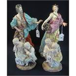 Pair of Meissen style figurines of a man and woman in classical robes,