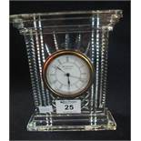 Large Waterford crystal glass mantel clock with Art Deco design stepped base. (B.P. 24% incl.