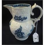 19th Century Swansea Cambrian pottery baluster shaped leaf moulded jug with blue painted floral