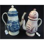 19th Century Cambrian pottery pink lustre baluster shaped coffee pot,