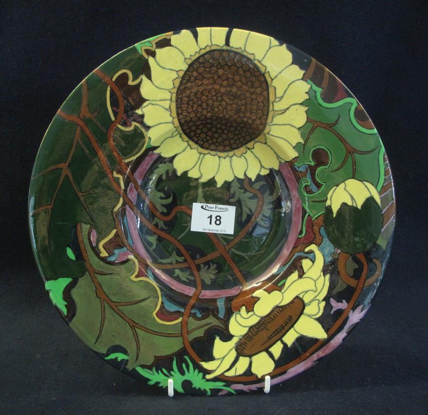 Lot 18 - The Foley Wileman & Co 'Intarsio' Arts & Crafts design floral shallow dish. shape no. 3067, reg. no.