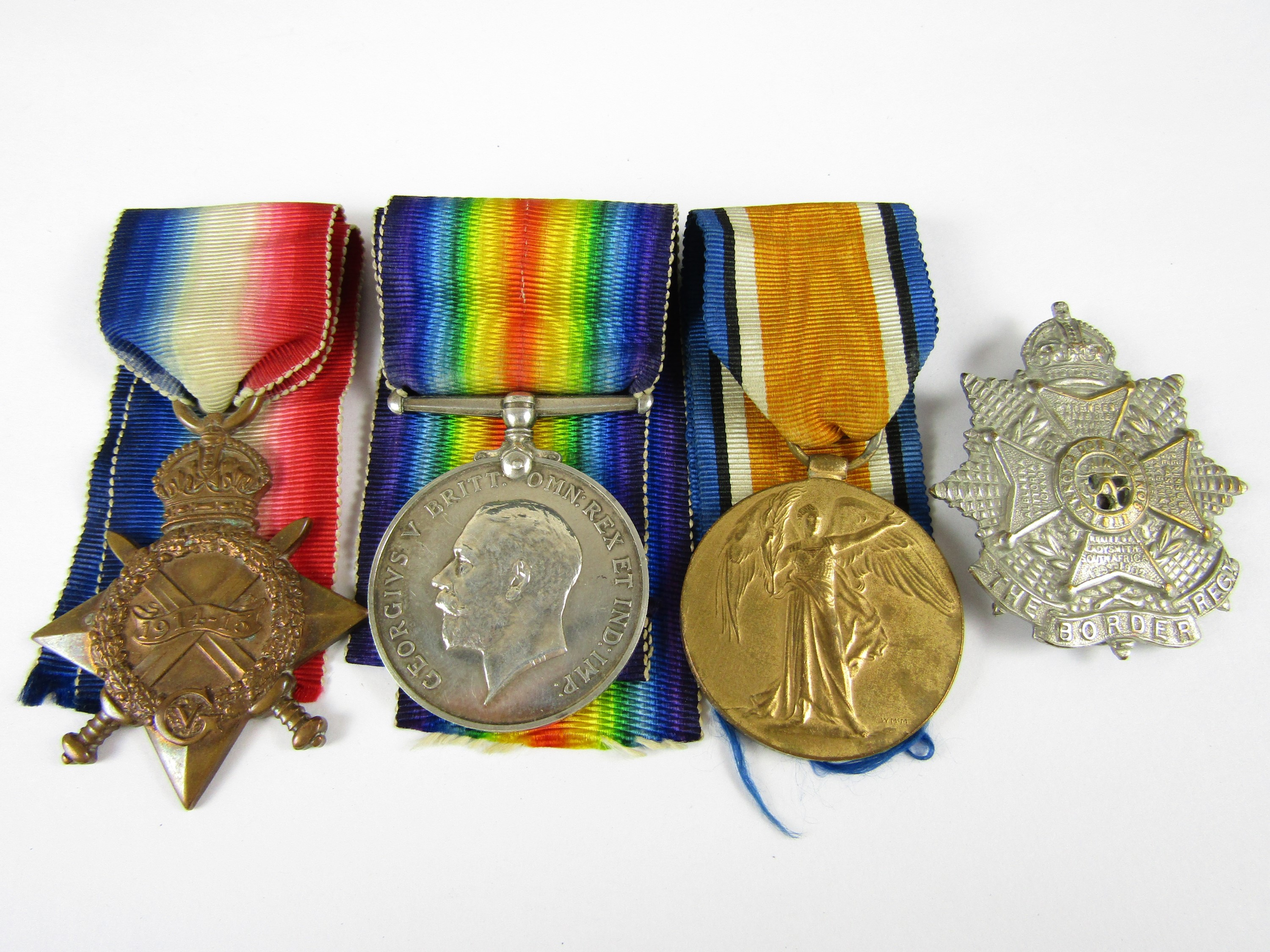 Lot 1 - A 1914-15 Star, British War and Allied Victory Medals to 17330 Pte T Harrison, Border Regiment,