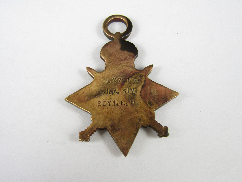 Lot 20 - A 1914-15 Star to J 27916 J A Sim, Boy 1, Royal Navy