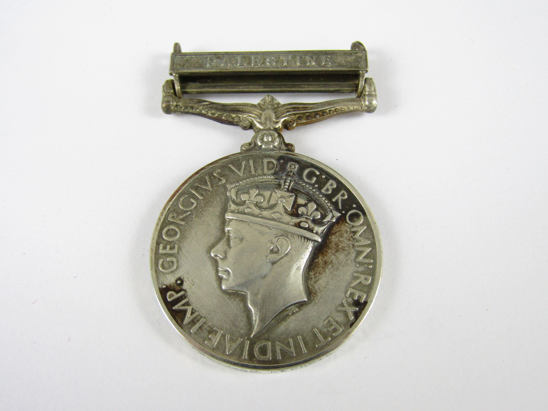 Lot 26 - A George VI General Service Medal, clasp Palestine, to 3311553 FSR J McKechnie, Royal Irish