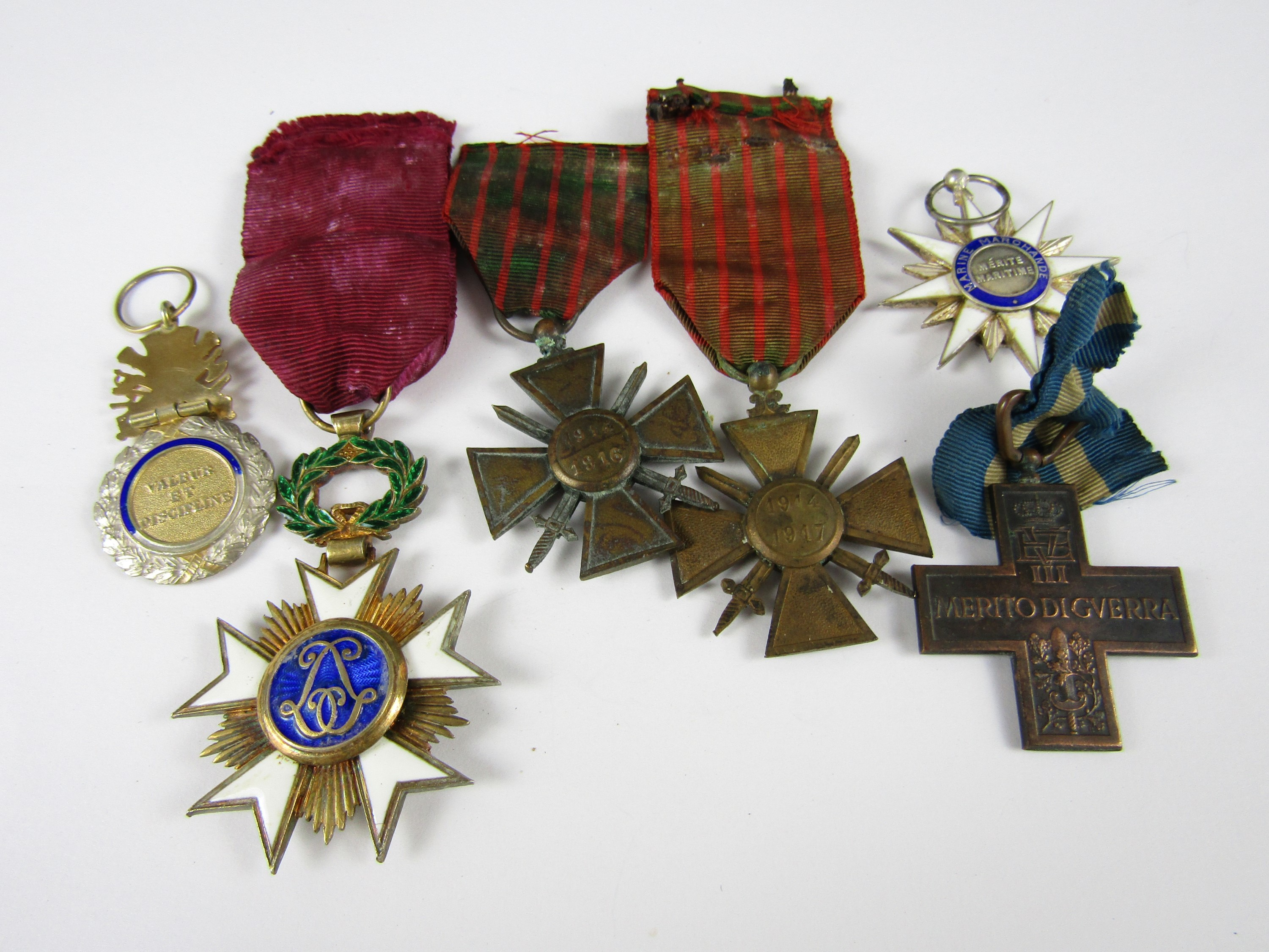 Lot 37 - A Belgian Order of the Crown, French Order of Maritime Merit, three other French military medals and