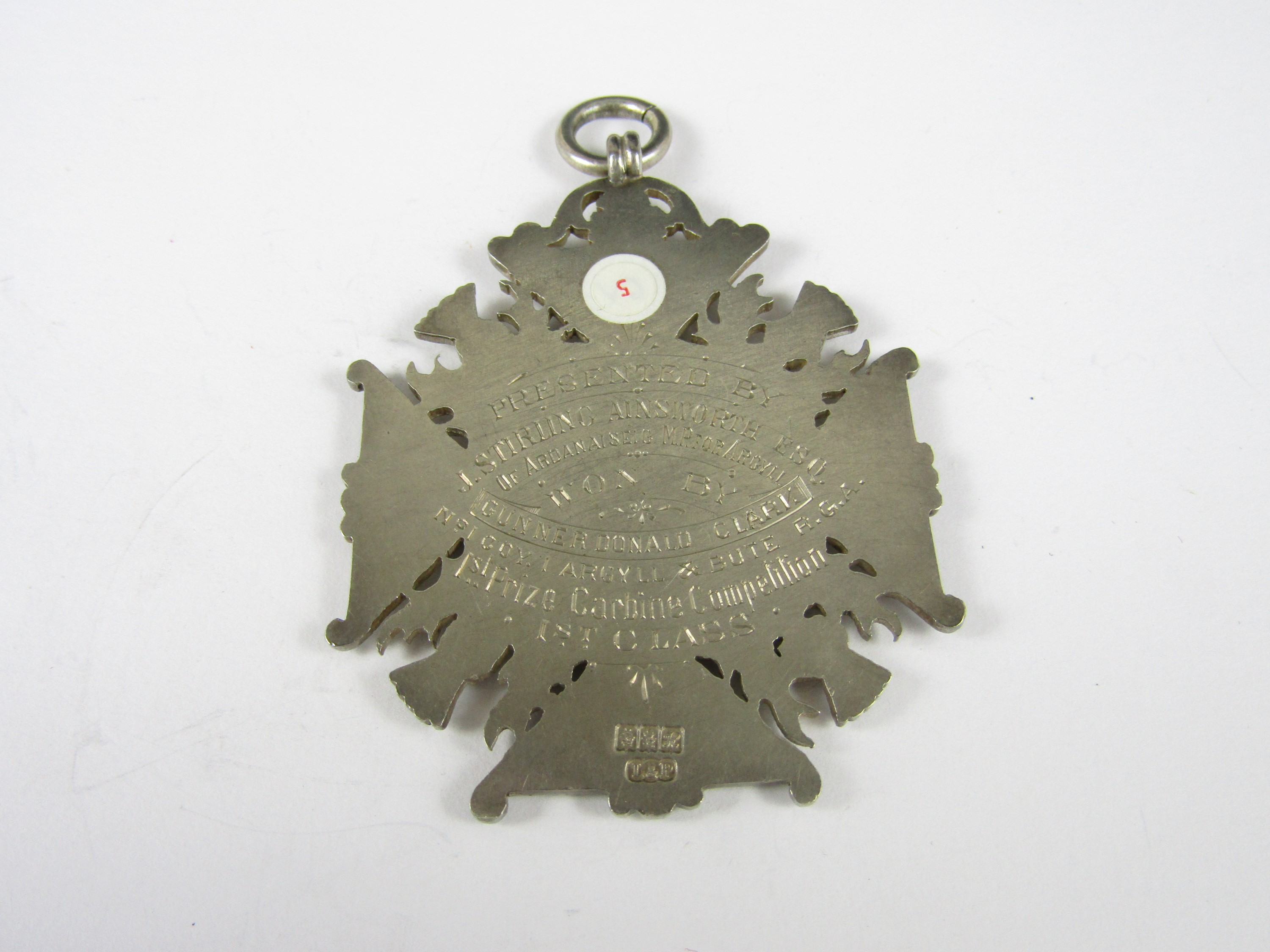 Lot 49 - A large Edwardian silver prize medallion, presented by J Stirling Ainsworth esq, of Ardanaiseig,