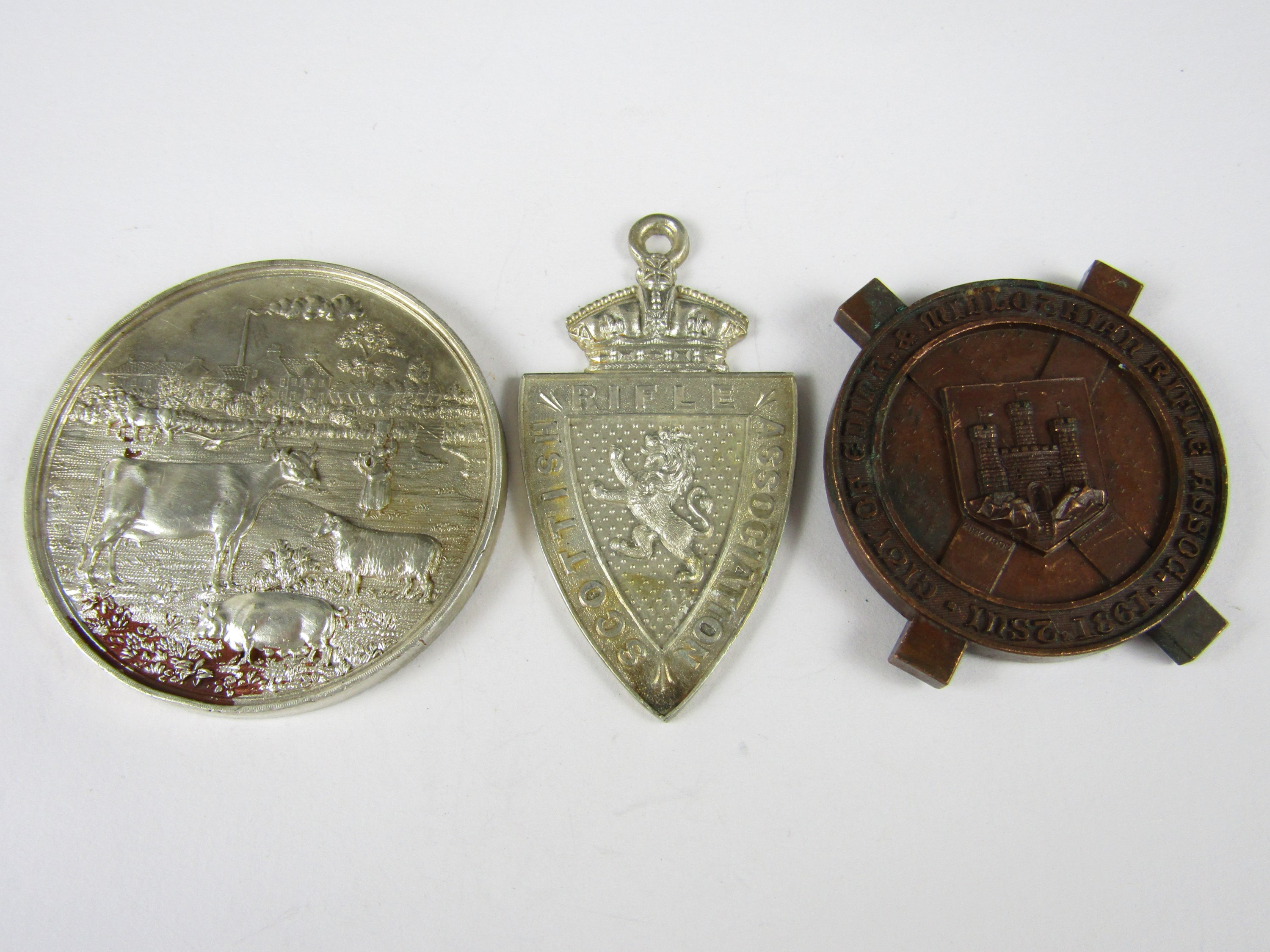 Lot 44 - A Victorian Scottish Rifle Volunteers electroplate shooting prize medallion, together with a