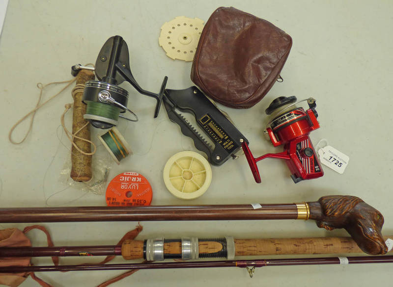 Lot 1725 - FISHING RELATED ITEMS TO INCLUDE A SHAKESPEARE FIREBIRD 36 REEL, MITCHELL 300A REEL,